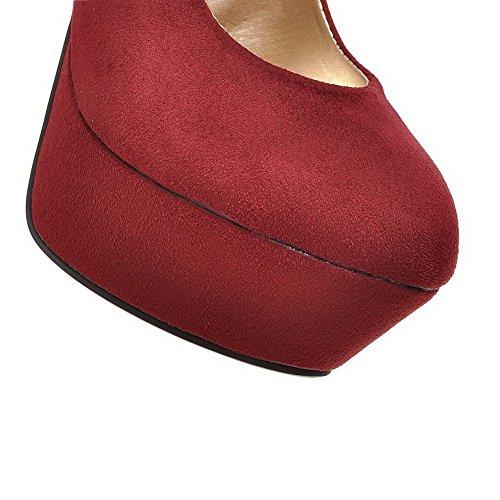 VogueZone009 Donna Pelle Di Mucca Tirare Plastica Punta Chiusa Tacco A Spillo Ballerine Rosso