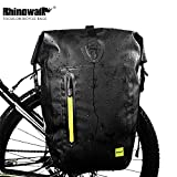 Movaty Rhinowalk - Alforja Trasera para Bicicleta, 25 L, Gran Capacidad, Bolsa Impermeable para Bicicleta de montaña, Bolsa Ligera para Bicicleta, poliéster 1000D, antiarañazos, Color Negro