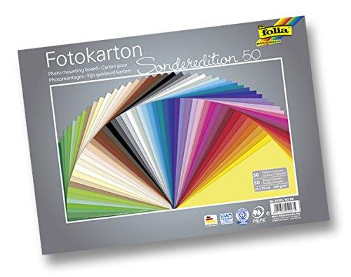 farbkarton folia 6125/50 99 Fotokarton (300 g/m², 25 x 35 cm, 50 Blatt, sortiert)