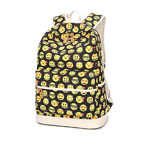 Imagen de susutop kids cute emoji  escolares los niños lienzo gran capacidad bolsa de hombro +mini bolso + bolso crossbody amarillo  alternativa