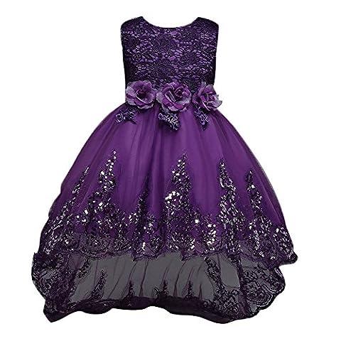 hibote Baby Mädchen Kleider mit Blütenblätter Taufkleid Festlich Kleid Hochzeit Party Kleinkind Kinder Kleidung Tüll Festzug 11-12Jahre / (Elf Kostüm Uk)