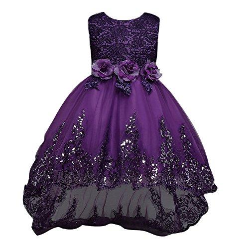 Baby Mädchen kleid - Prinzessin 3D Blume Tüll Kleid Armellos Hochzeit Festlich Partykleid Kleider für Kleinkinder Kinder Lila 3-12 Jahre (Hochzeit Kinder Kleider)
