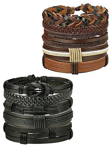 Imagen de besteel 10 piezas pulseras cuero trenzado para hombres mujeres pulsera de cuerda nudo brazalete vintage pulseras set, ajustable b alternativa