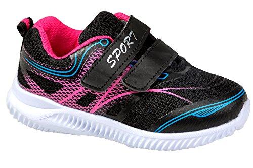 GIBRA® Kinder Sportschuhe, mit Klettverschluss, schwarz/pink, Gr. 26-36 Schwarz/Pink