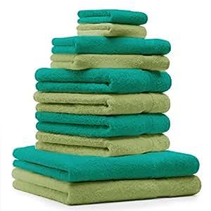 10 tlg. Handtuch Set Premium Farbe Smaragd Grün & Apfel Grün 100% Baumwolle 2 Duschtücher 4 Handtücher 2 Gästetücher 2 Waschhandschuhe
