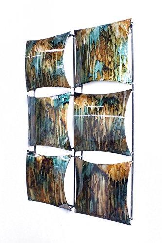 Heather Ann Creations 6quadratisch Panel dekorativ Metall Wand Accent Kunst, 40,6x 63,5x 5,1cm Metall mit Folie, Tropfen und Lack Finish in Kupfer, Braun und Grün