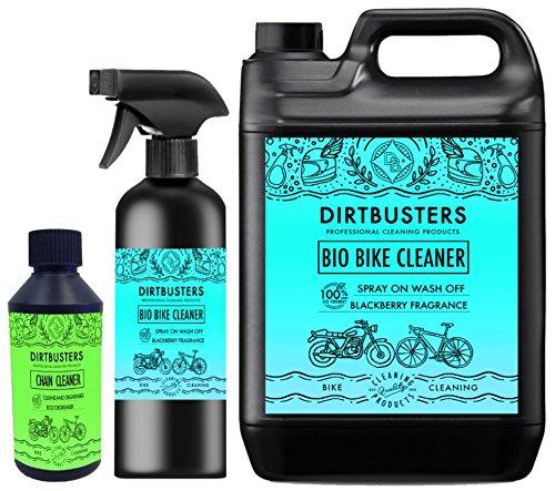 Dirtbusters Bio-Reinigungs-Set für Motorrad, mit Anti-Schmutz-Mikroben und Enzymen, umweltfreundliche Reinigung, 1 x 5 l Nachfüllpackung, 1 x 1 l Spray-Reiniger, 250 ml Kettenreiniger