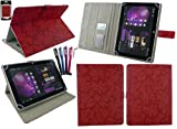emartbuy Bündel von 5 Eingabestift+Universal Jahrgang Blumen Rot Folio Hülle Schutzhülle Wallet Hülle Schutzhülle mit Kartensteckplätze Geeignet für i.onik Tablet PC TP9.7-1500DC Ultra 9.(7 Zoll)