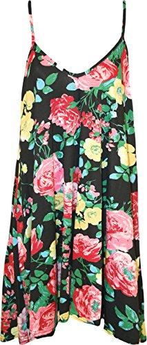 WearAll - Grande taille imprimé mini-robe débardeur top - Robes - Femmes - Tailles 44 à 54 Noir Jaune