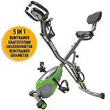 Skandika Foldaway X-3000 - Cyclette Pieghevole - Bluetooth - Supporto per Tablet - Sensori palmari - Postazione Pesi (Verde/Grigio)