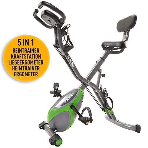 skandika Foldaway X-1000 lite/X-2000 Fitnessbike Heimtrainer X-Bike F-Bike Klappbar mit Handpuls-Sensoren - Ergometer - Hometrainer - Faltbares Fitness-Fahrrad (X-3000 Grün)