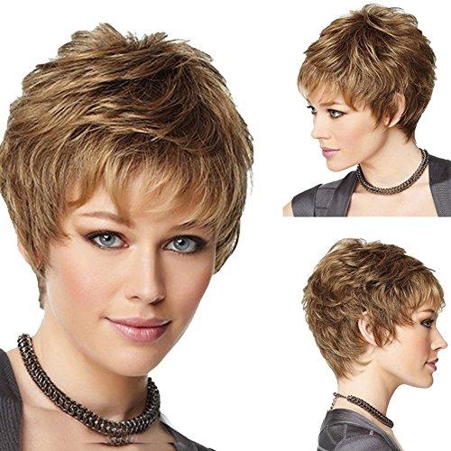 Hrph Elegant Mode Cheveux Courts Bouclés Nuturelle 28cm Cosplay Party Femme Perruque de Cheveux Blonde Résistante au Lavage à Haute Température