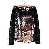 camicia in pizzo cuciture stampa/ Top caldi/ cappotto esterno-A L