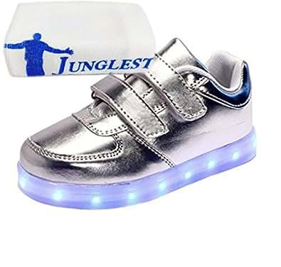 [Present:kleines Handtuch]Silber EU 25, Sportschuhe Schuhe Leuchtet Fl?¹gel Kinder weise Jungen mit mit LED USB Sneakers Ath