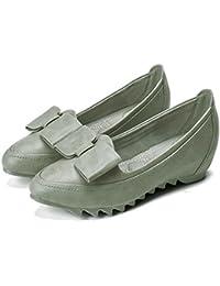 Altura del pie de Las Mujeres aumentó Zapatos Casual Boca Superficial Simple Deslizadores Antideslizantes Zapatilla