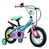 """TSDS Bicicletta per Bambini Bicicletta Pieghevole Bicicletta a 4 Ruote 12"""", 14"""", 16"""", 18"""" Passeggino in Lega di Alluminio a Colori (Size : 18 inch)"""