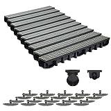 10m Entwässerungsrinne für modulares System A15 98mm, komplett Stegrost Kunststoff, Grau Line