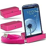 (Hot Pink)Samsung i9300i Galaxy S3 Neo Micro Desktop USB Charging Dock Mount Stand & Micro USB portatile / PC sincronizzazione di dati del cavo di carico da ONX3