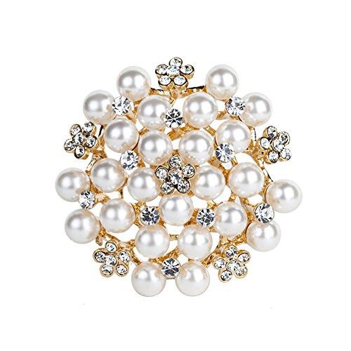 Cdet 1X Brosche Einfach Perlen-Diamant Legierung DEK Frauen Brosche/Herren Brosche Anzug Brooch/Hochzeit Dekoration/Geburtstags Geschenk Pin (Gold)