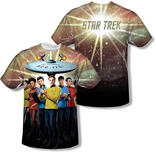 Star Trek - Herren Original-Crew (Front / Back Print) T-Shirt, X-Large, Sublimate White