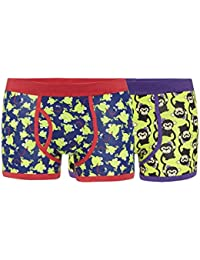 Red Herring Mens Pack Of Two Green Monkey And Frog Printed Keyhole Trunks L