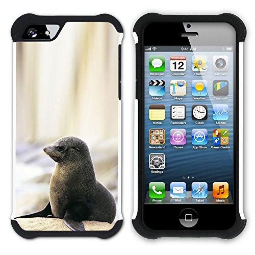 Graphic4You Seehund Tier Weiß Hart + Weiche Kratzfeste Hülle Case Schale Tasche Schutzhülle für Apple iPhone SE / 5 / 5S Design #4