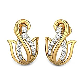 Candere By Kalyan Jewellers Ciara 14k Yellow Gold and Diamond Stud Earrings