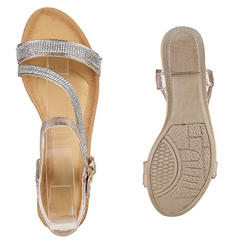 Bequeme Damen Sandaletten Keilabsatz Strass Spitze Wedges Schuhe Rose Gold Steinchen