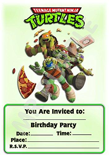 Geburtstagseinladung, Motiv: Superhero Teenage Mutant Ninja Turtles mit Pizza,Hochformat, Partyzubehör, 12Stück WITHOUT Envelopes