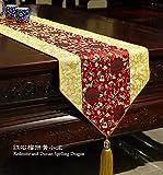 Lartum Tischläufer Redstone Hitzebeständige Rechteckige Moderne Tischläufer Für Couchtisch Und Hochzeit Mehrfarbige Gestickten Chinesischen Zen Floral Design Mit Quaste, 180 * 35 cm