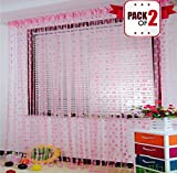 #4: AMFIN® (Pack Of 2) Light Pink Polyester Windows Curtain - 3.5 x 6.5 feet / Decoration for Weddings, Engagement, Baby Shower, Anniversary Party, Bachelors Party