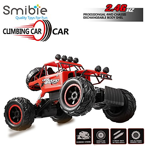 Smibie 1/12 RC Rock Crawler 4WD Ferngesteuertes Auto 2.4GHz Remote Control Crawler Truck Geländewagen Wiederaufladbare Batterien Enthalten (Rot3)