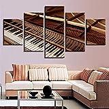 QLIYT Wohnkultur Für Wohnzimmer Hd Drucke 5 Stücke Schwarz Und Weiß Klaviertasten Gemälde Wandkunst Leinwand Bilder Modulare Poster