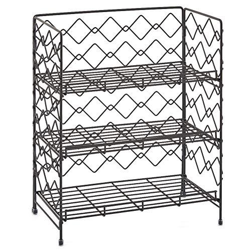 EZOWare 3 Niveles Estantería Plegable, Cocina Baño Estante Especiero de Pie Libre Encimera Organizador Multiuso para Especias/Hierbas, Condimentos, Jabones, Botelas, Frascos - Negro