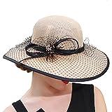 June's Young Damen-Hüte Sinamayhut Sommer Hut Sonnenhut eleganter Hut mit Schmuck hinreißend angenehm kostüme Vintage Mode