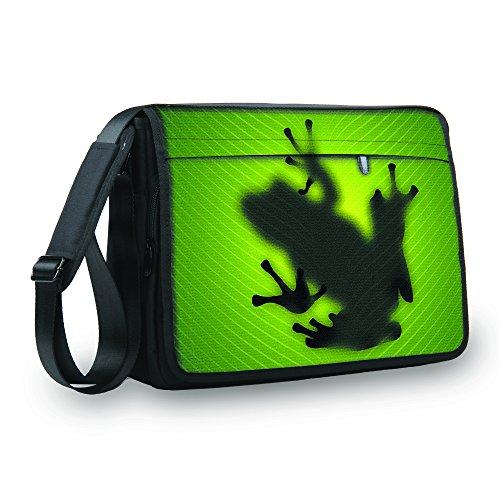 MySleeveDesign Messenger Bag Laptoptasche Notebooktasche mit Tragegurt - Tasche für Laptop & Notebook der Größen 13,3 Zoll / 14 Zoll / 15,6 Zoll / 17,3 Zoll - VERSCH. Designs - Frog - 15