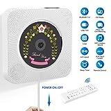 Lecteur CD Portable, Lecteur CD Mural pour Maison avec Construit Bluetooth 4.2, Radio FM, Port USB, Télécommande, Supporte Carte SD et Compatible avec CD/MP3/WMA (CD-Blanc)
