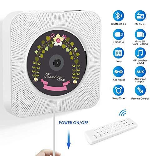 Lecteur CD Portable, Lecteur CD Mural pour Maison avec Construit Bluetooth 4.2, Radio FM, Port USB,...