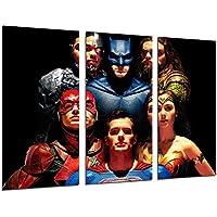 Cuadro Moderno Fotografico Peliculas Superheroes, Liga de la Justicia, Batman, Superman, La Mujer Maravilla, Flash, Aquaman y Cyborg, 97 x 62 cm, Ref. 27164