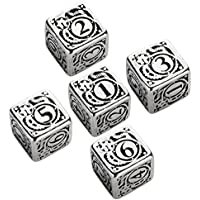 Set of Metal D6 Dice (5): Steampunk Metal Black
