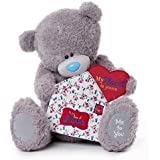 Me to You 20-inch Tatty Teddy Bear Holding Fabric Envelope with the Words My Heart is Yours and to the One I Love (Grey) by Me To You