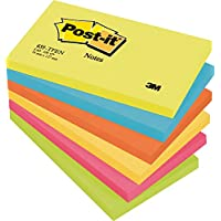 3M Post-it - Pack Notas adhesivas – 6 x 100 Notas adhesivas – Bloc de notas Post it 76 x 127 mm – Color: amarillo, ultra-amarillo, azul, rosado, naranja, verde