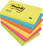 Post-it 655TFEN Haftnotiz Rainbow Notes, 76 x 127 mm, 5 Farben Active Collection, 100 Blatt, 6 Block - in weiteren Größen verfügbar