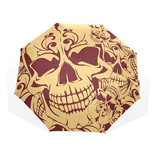 EZIOLY - Paraguas de Viaje con diseño de Calavera Muerta, Ligero, Anti Rayos UV, para Hombres, Mujeres y niños, Paraguas Plegable y Resistente al Viento