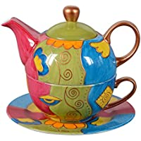 Tea for one - Tetera y taza de té pintadas a mano, 400ml multicolor