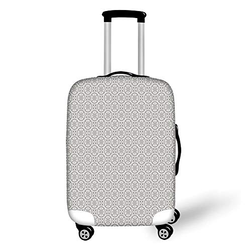 Travel Luggage Cover Suitcase Protector,Grey and White,Middle Eastern Mosaic Antique Pattern Victorian Baroque Damask Influences Decorative,Grey White,for TravelM 23.6x31.8Inch -