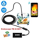 cachor WiFi Endoskop, USB Endoskop Inspektionskamera, 2.0Megapixel CMOS 1200P HD Schlange Kamera mit 8mm Durchmesser, 8verstellbaren LED-Lichter, wasserdicht IP68Für Android, iOS Smart Phone, Windows, Mac