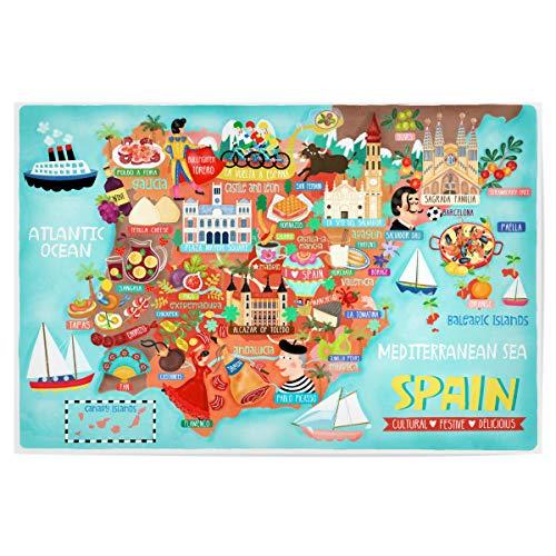 artboxONE Poster 60x40 cm Städte Karte von Spanien Illustration - Bild Spanien Karte Illustration