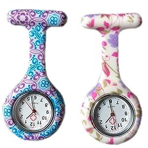BOOLAVARD Frauen Mädchen 'Fashion Floral Krankenschwester Clip-on Fob Brosche Silikon Gelee Hängende Taschen Uhr, 2er-Pack