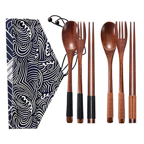 Pveath Camping-Besteck-Set, Bambus, Reisebesteck-Set mit Reisetasche, Messer, Gabel, Löffel, Essstäbchen und Strohhalm, Wiederverwendbar, tragbar, nachhaltiges und umweltfreundliches Geschenk (Rot) Fancy Gabeln